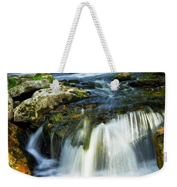 River Flowing Through Woods Weekender Tote Bag