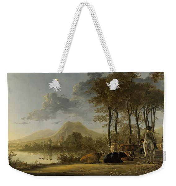 River Landscape With Horseman And Peasants Weekender Tote Bag