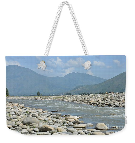 Riverbank Water Rocks Mountains And A Horseman Swat Valley Pakistan Weekender Tote Bag