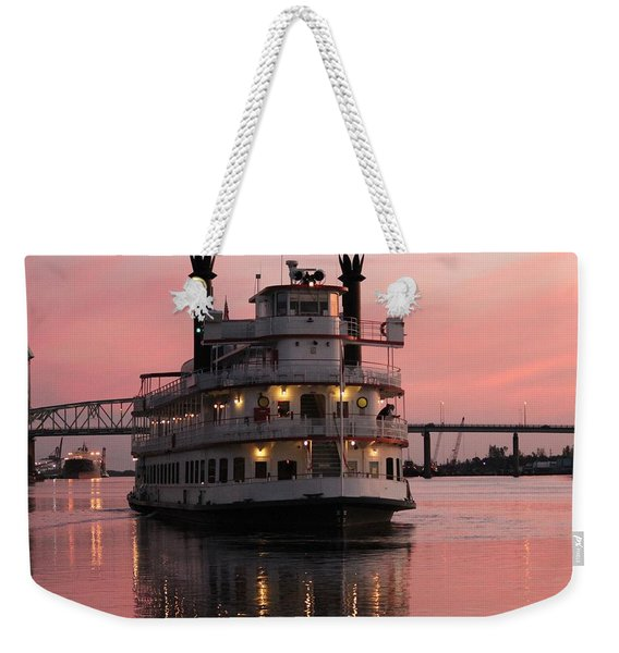 Riverboat At Sunset Weekender Tote Bag