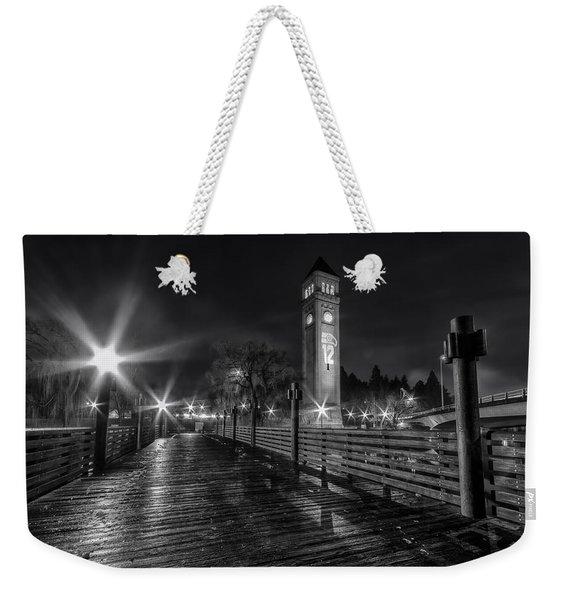 Riverfront Park Clocktower Seahawks Black And White Weekender Tote Bag