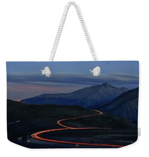 Road At Night With Headlights Weekender Tote Bag