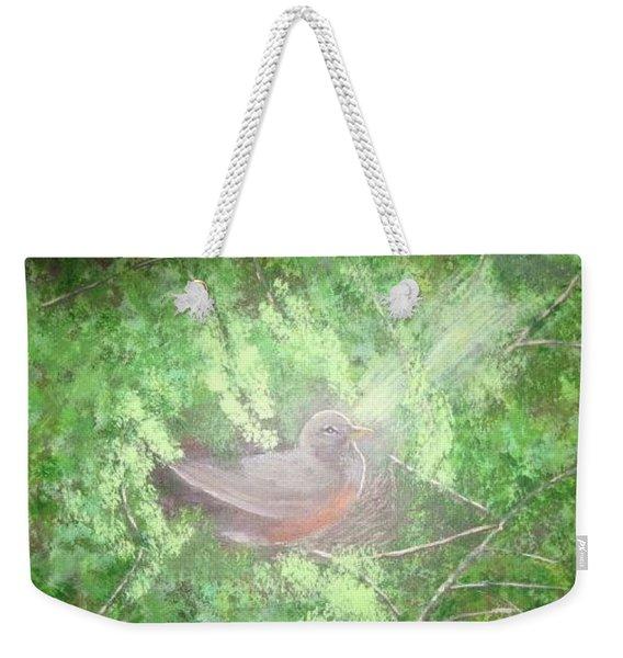 Robin On Her Nest Weekender Tote Bag