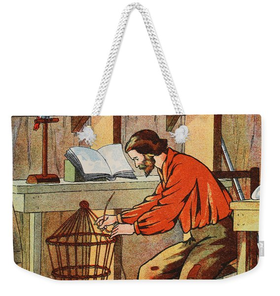 Robinson Crusoe Making A Cage For His Parrot Weekender Tote Bag