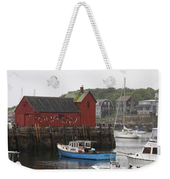 Rockport Inner Harbor With Lobster Fleet And Motif No.1 Weekender Tote Bag
