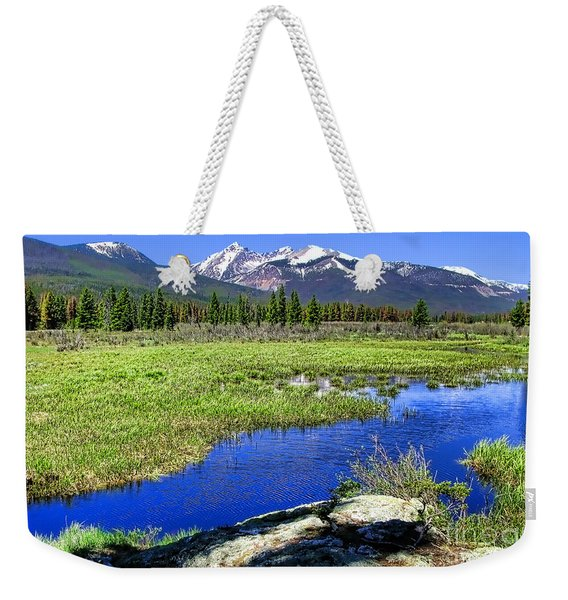 Rocky Mountains River Weekender Tote Bag