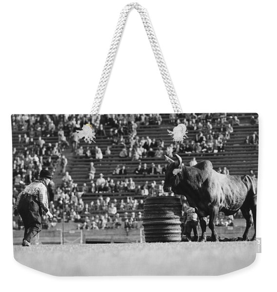 Rodeo Clown Watches Bull Weekender Tote Bag