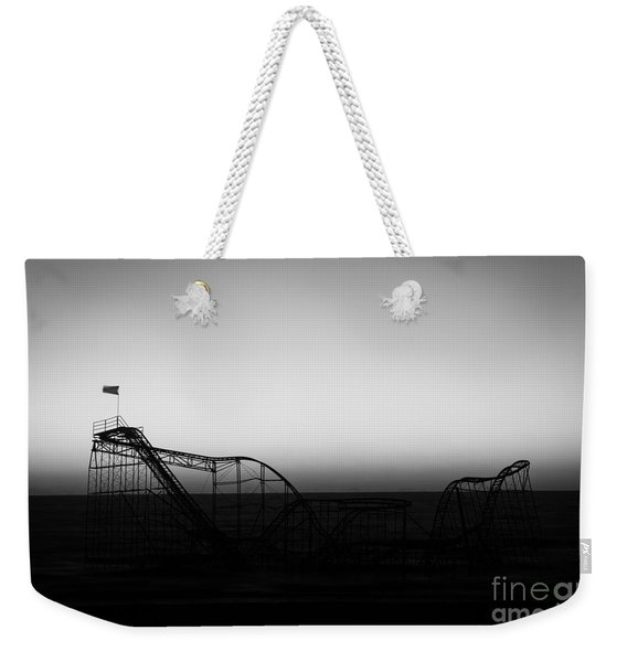 Roller Coaster Silhouette Black And White Weekender Tote Bag