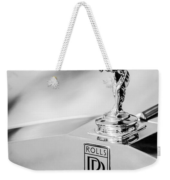 Weekender Tote Bag featuring the photograph Rolls-royce Hood Ornament -782bw by Jill Reger
