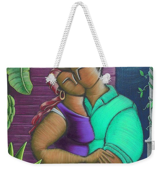 Weekender Tote Bag featuring the painting Romance Jibaro by Oscar Ortiz