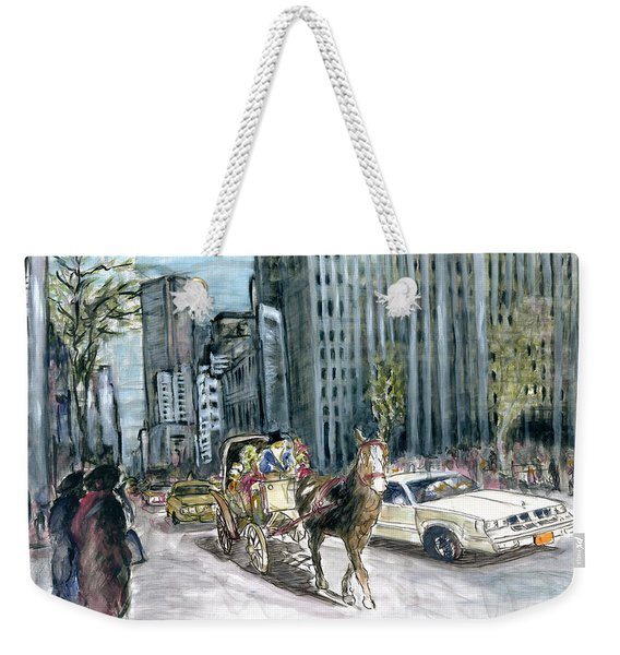 New York 5th Avenue Ride - Fine Art Painting Weekender Tote Bag
