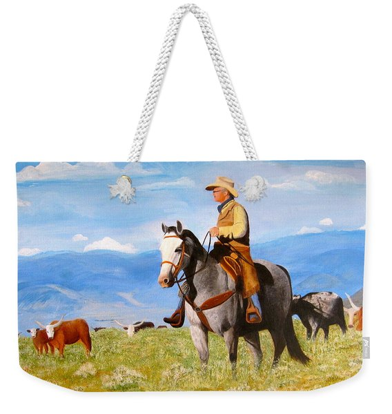 Ron And  Cash At Work Weekender Tote Bag
