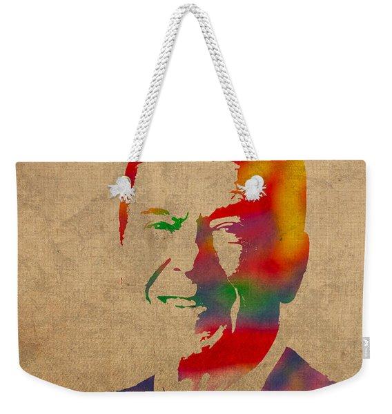Ronald Reagan Watercolor Portrait On Worn Distressed Canvas Weekender Tote Bag