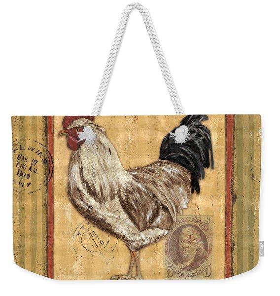Rooster And Stripes Weekender Tote Bag