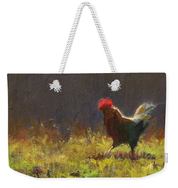 Rooster Strut - Impressionistic Chicken Landscape - Abstract Farm Art - Chicken Art - Farm Decor Weekender Tote Bag