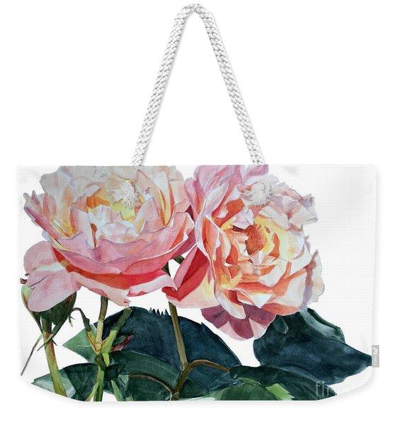 Pink And Yellow Rose Anne Weekender Tote Bag