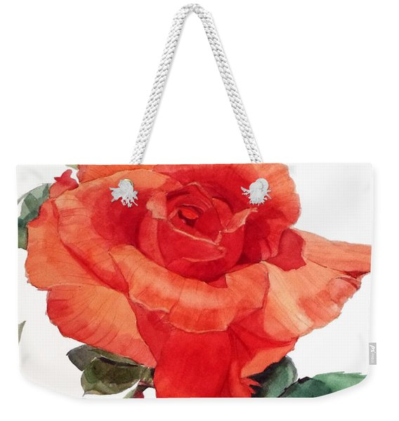 Watercolor Of A Single Red Rose I Call Red Rose Filip Weekender Tote Bag
