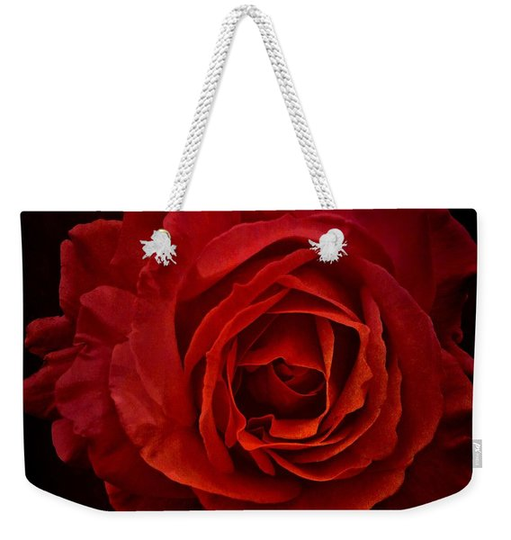 Weekender Tote Bag featuring the photograph Rose In Red by Patricia Strand