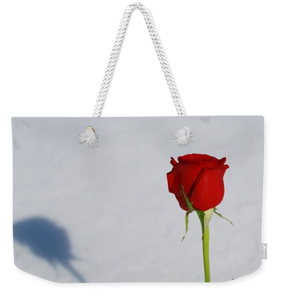 Rose In Snow Spring Approaches Weekender Tote Bag