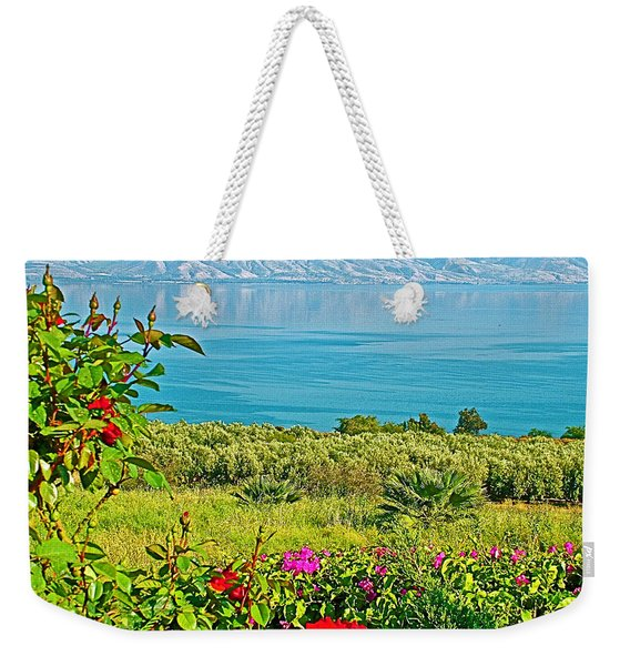 Roses And Sea Of Galilee Near Church Of The Beatitudes In Tabgha-israel   Weekender Tote Bag