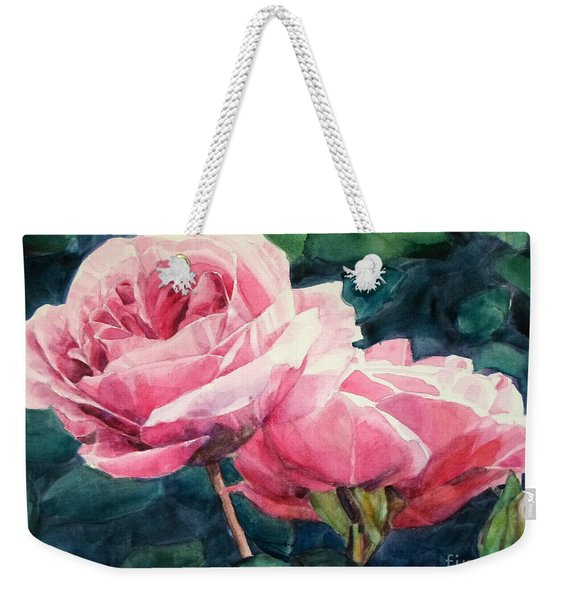 Watercolor Of Two Luscious Pink Roses Weekender Tote Bag