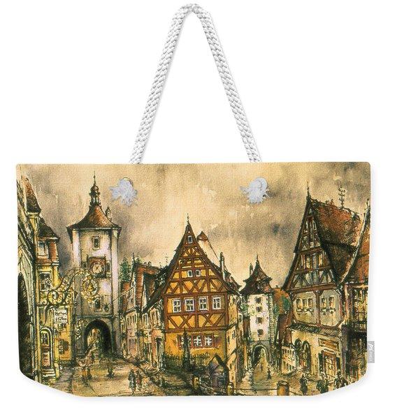 Rothenburg Bavaria Germany - Romantic Watercolor Weekender Tote Bag