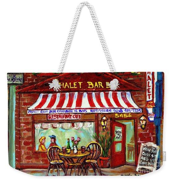 Rotisserie Le Chalet Bbq Restaurant Paintings Storefronts Street Scenes Diners Montreal Art Cspandau Weekender Tote Bag