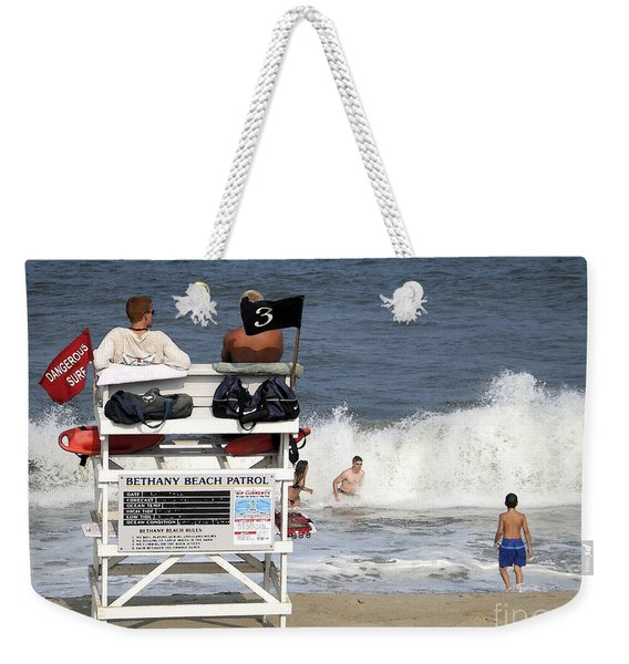 Rough Water At Bethany Beach In Delaware  Weekender Tote Bag