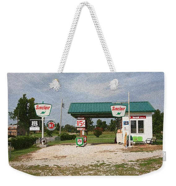 Route 66 Gas Station With Sponge Painting Effect Weekender Tote Bag