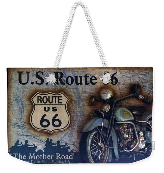 Route 66 Odell Il Gas Station Motorcycle Signage Weekender Tote Bag