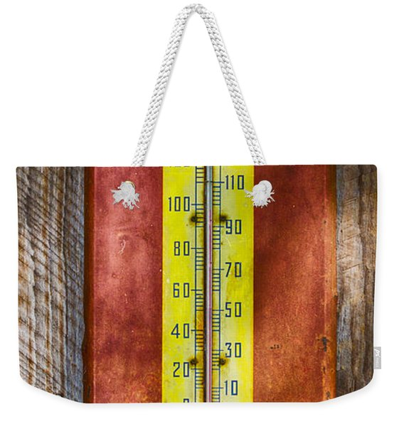 Weekender Tote Bag featuring the photograph Royal Crown Barn Thermometer by Carolyn Marshall