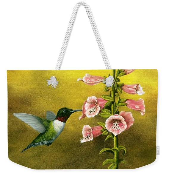 Ruby Throated Hummingbird And Foxglove Weekender Tote Bag