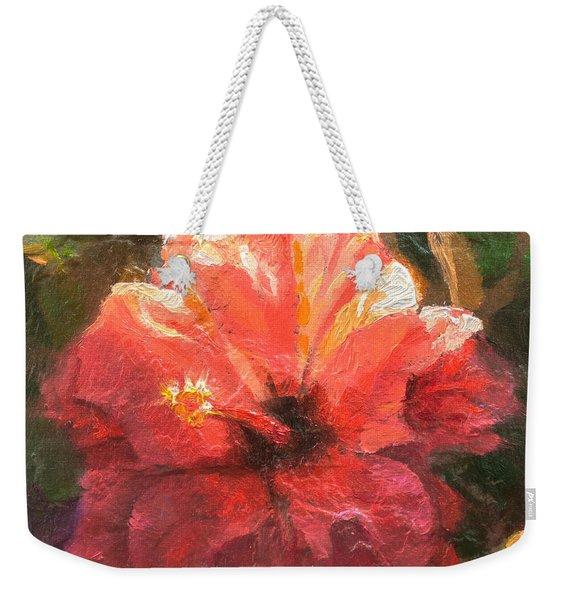Ruffled Light Double Hibiscus Flower Weekender Tote Bag