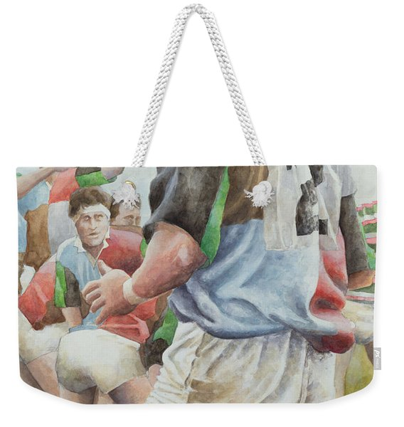 Rugby Match Harlequins V Northampton, Brian Moore At The Line Out, 1992 Wc Weekender Tote Bag