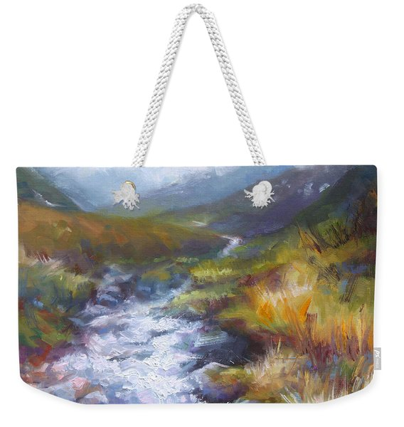 Weekender Tote Bag featuring the painting Running Down - Landscape View From Hatcher Pass by Talya Johnson