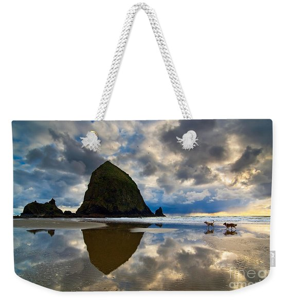 Running Free - Dogs Running In Beautiful Cannon Beach. Weekender Tote Bag
