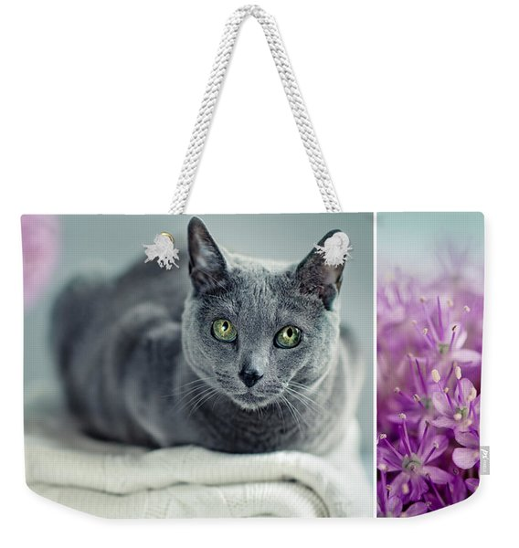 Russian Blue Collage Weekender Tote Bag