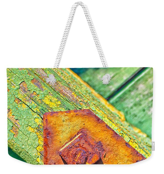 Rusty Bolt On Rotten Green Wood Weekender Tote Bag