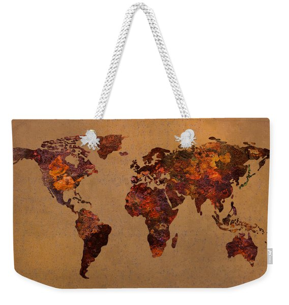 Rusty Vintage World Map On Old Metal Sheet Wall Weekender Tote Bag