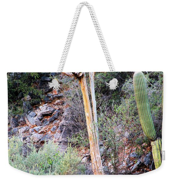 Weekender Tote Bag featuring the photograph Saguaro Skeleton by Jemmy Archer
