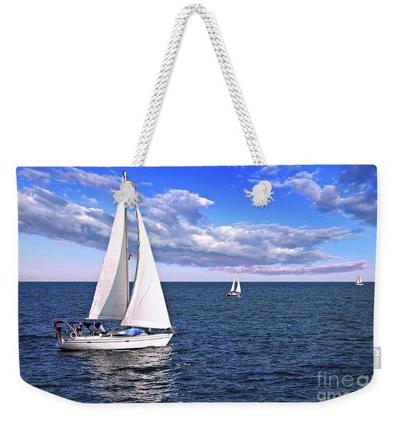 Sailboats At Sea Weekender Tote Bag