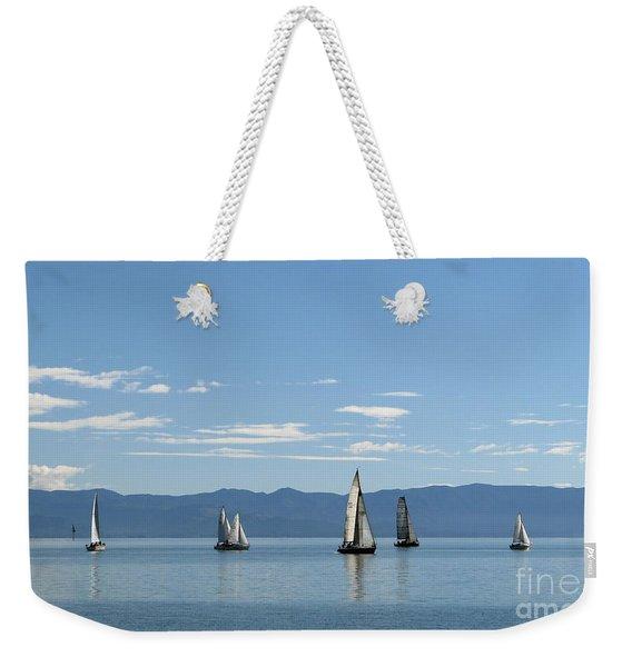 Sailboats In Blue Weekender Tote Bag