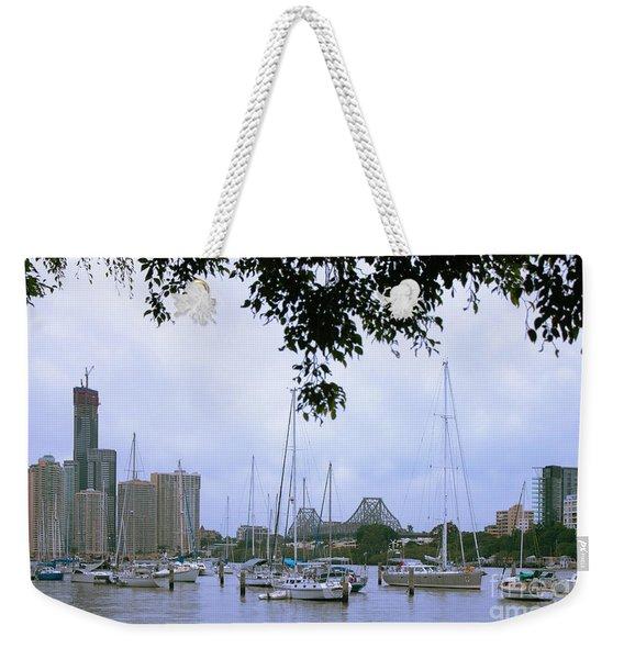 Sailboats In Brisbane Australia Weekender Tote Bag