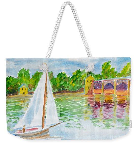 Sailing By The Bridge Weekender Tote Bag