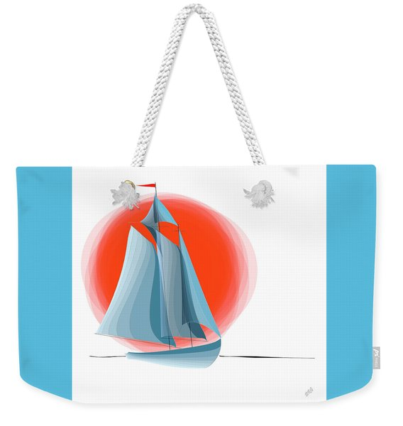 Sailing Red Sun Weekender Tote Bag