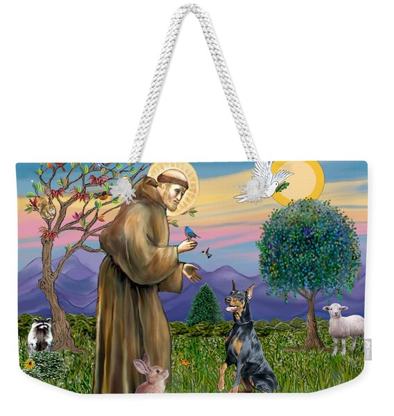 Saint Francis And Doberman Pinscher Weekender Tote Bag