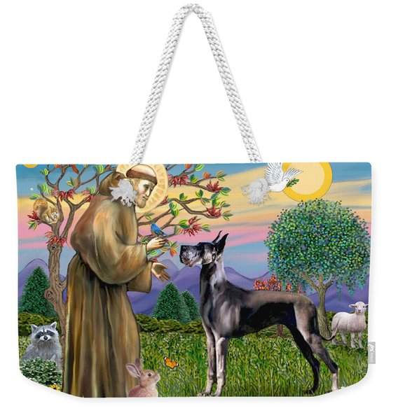 Saint Francis Blesses A Black Great Dane Weekender Tote Bag