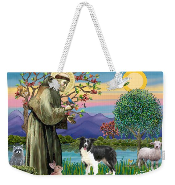 Saint Francis Blesses A Border Collie Weekender Tote Bag
