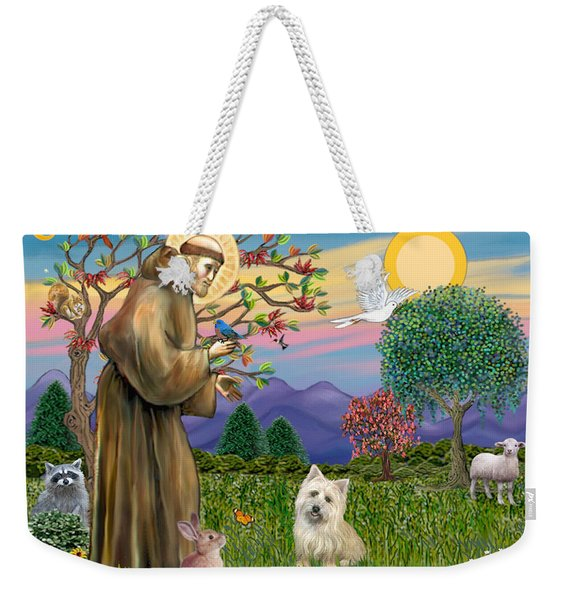 Saint Francis Blesses A Cairn Terrier Weekender Tote Bag