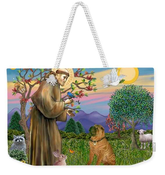 Saint Francis Blesses A Chinese Shar Pei Weekender Tote Bag